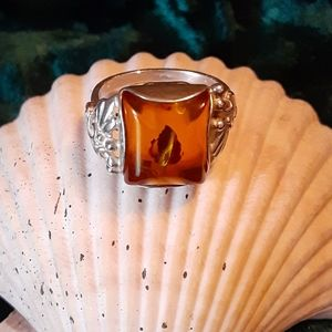 Art Deco Amber w/ Inclusions Sterling